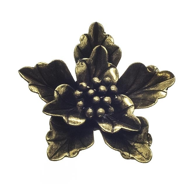 40mm Leaf Flower Pendant - Antique Brass Plated - 2pk