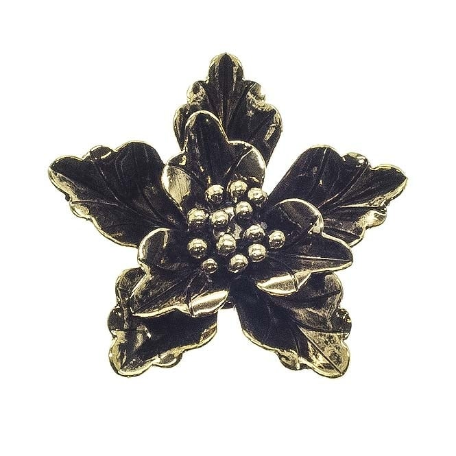 40mm Leaf Flower Pendant - Antique Gold Plated - 2pk