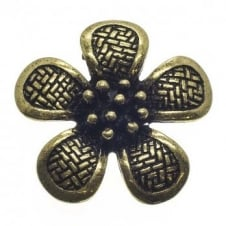 40mm Patterned Flower Pendant - Antique Brass Plated - 2pk