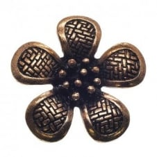 40mm Patterned Flower Pendant - Antique Copper Plated - 2pk