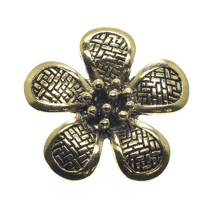 40mm Patterned Flower Pendant - Antique Gold Plated - 2pk