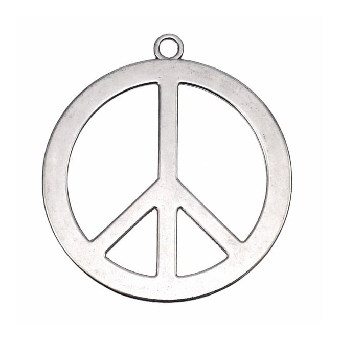 40mm Peace Sign Charm - Silver Plated - 5pk
