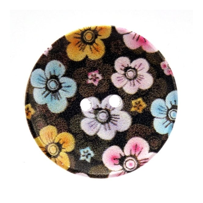 40mm Wooden Blossom Giant Dished Button - 1pk