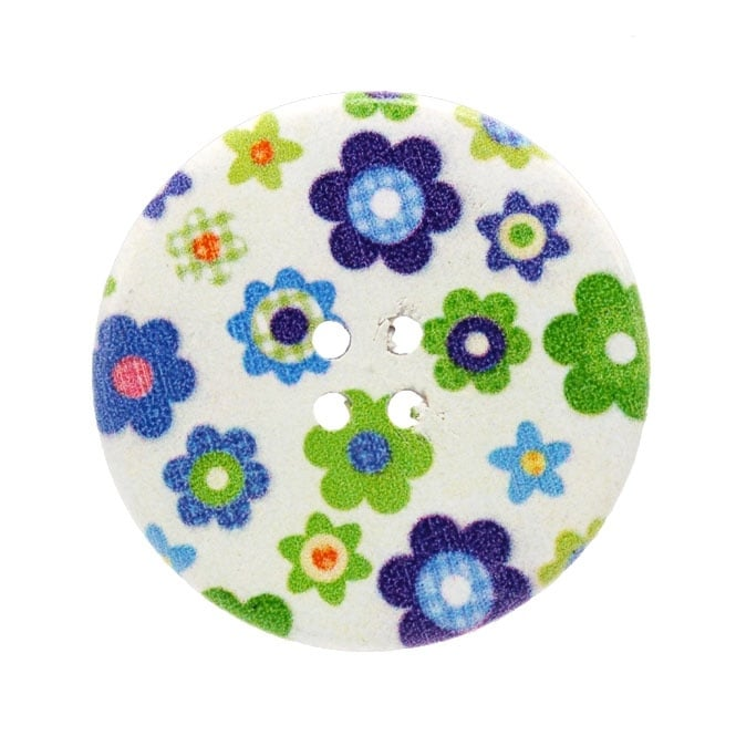 40mm Wooden Daisy Collective Giant Button - 1pk