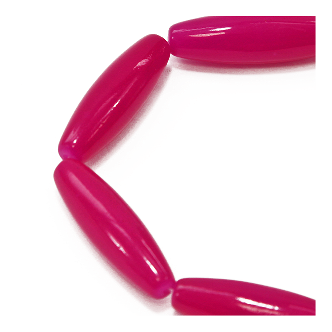 40x12mm Tube Glass Marble Bead - Fuchsia 10 Beads