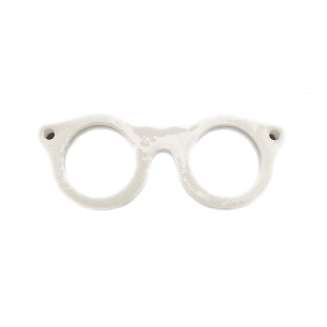 42x16mm Resin Geek Chic Glasses Charm - White - 5pk