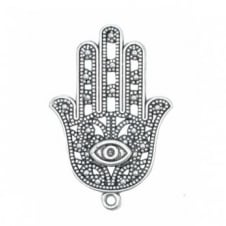 42x28mm Hamsa Protection Hand Charms - Antique Silver Plated - 2pk