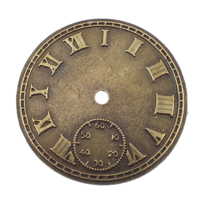44mm Roman Numeral Watch Face Antique Brass Plated The