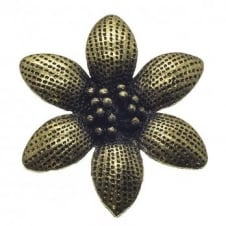 45mm Daisy Flower Pendant - Antique Brass Plated - 2pk