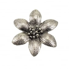 45mm Daisy Flower Pendant - Antique Silver Plated - 2pk