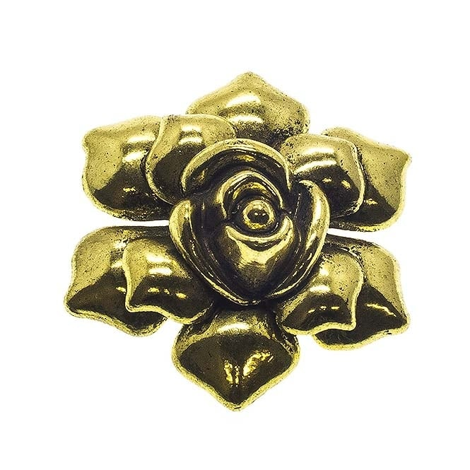 45mm Rose Pendant - Antique Gold Plated - 2pk