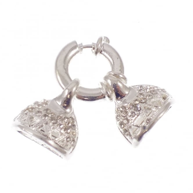 45x20mm Large Bolt Ring Clasp with Diamante Crystals - Silver Plated