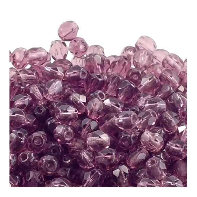 4mm Czech Faceted Round Glass Bead - Amethyst - 50pk
