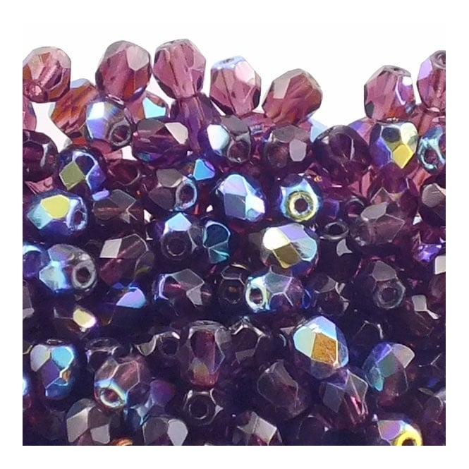 4mm Czech Faceted Round Glass Bead - Amethyst AB - 50pk