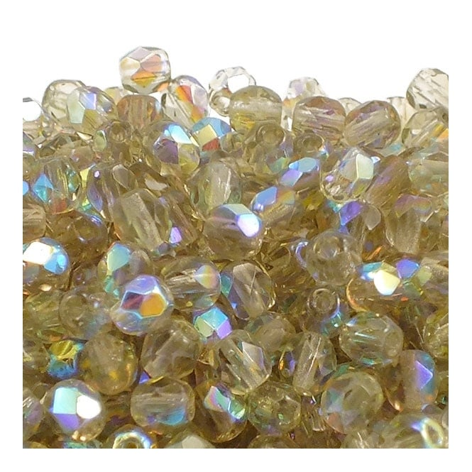 4mm Czech Faceted Round Glass Bead - Black Diamond AB - 50pk