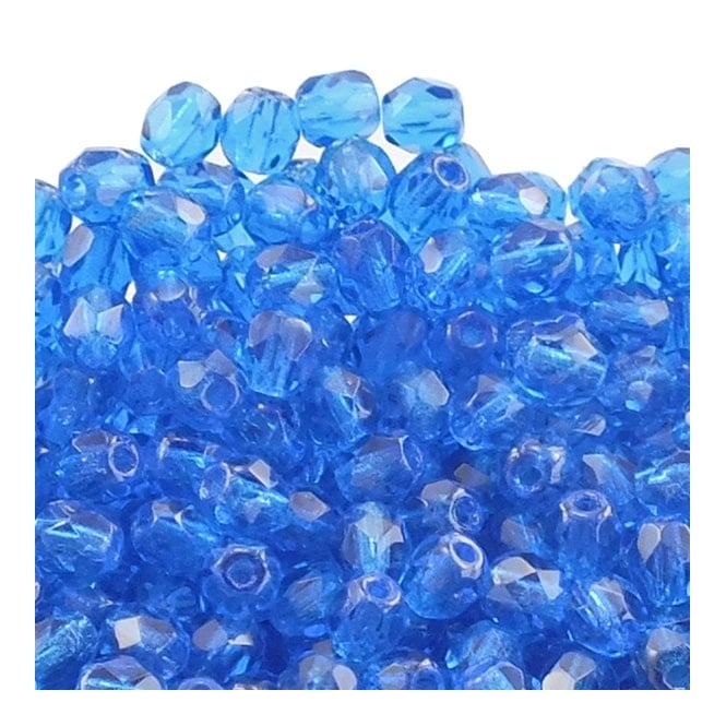4mm Czech Faceted Round Glass Bead - Capri Blue - 50pk