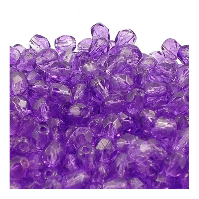 4mm Czech Faceted Round Glass Bead - Coated Sugar Plum - 50pk