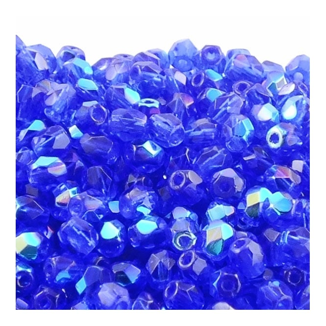4mm Czech Faceted Round Glass Bead - Cobolt AB - 50pk