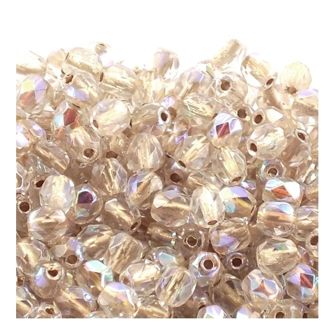 4mm Czech Faceted Round Glass Bead - Copper Lined Crystal AB - 50pk