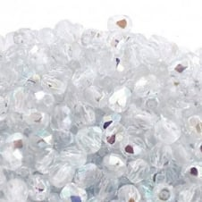 4mm Czech Faceted Round Glass Bead - Crystal AB - 50pk