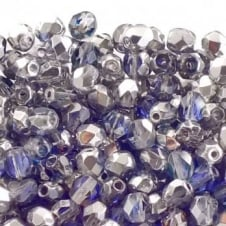 4mm Czech Faceted Round Glass Bead - Crystal/Heliotrope - 50pk