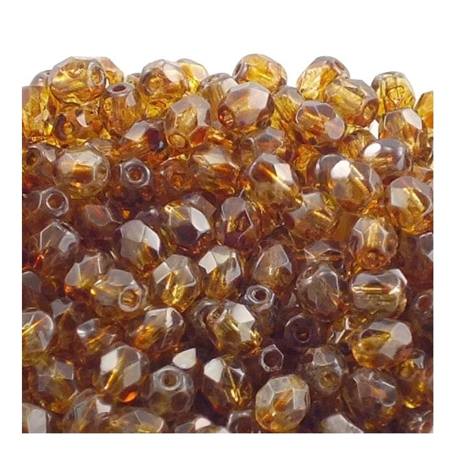 4mm Czech Faceted Round Glass Bead - Crystal Picasso - 50pk