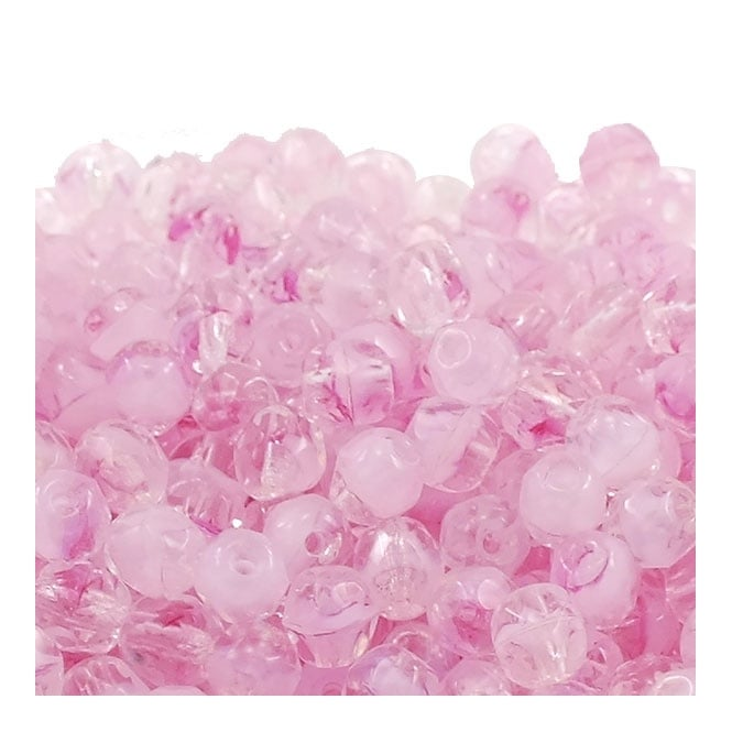 4mm Czech Faceted Round Glass Bead - Crystal/Pink - 50pk