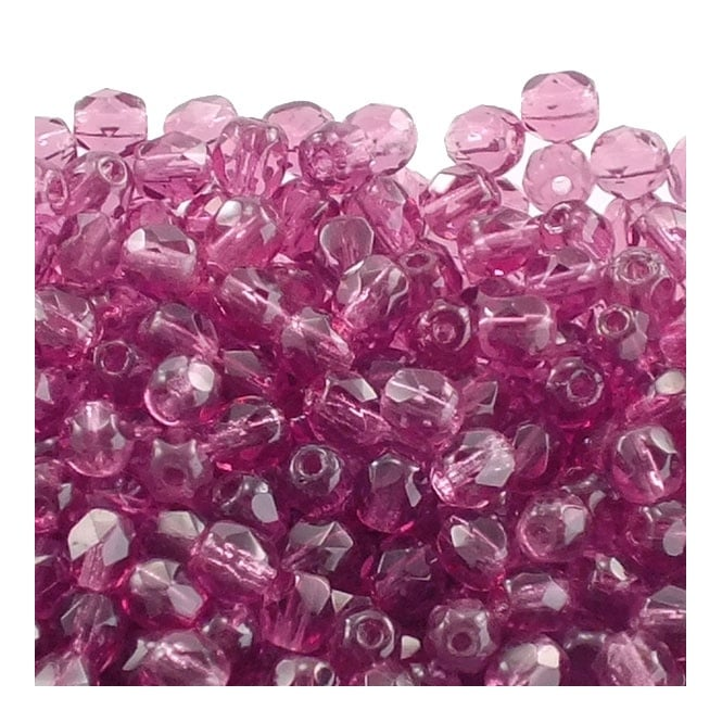 4mm Czech Faceted Round Glass Bead - Dark Fuchsia - 50pk