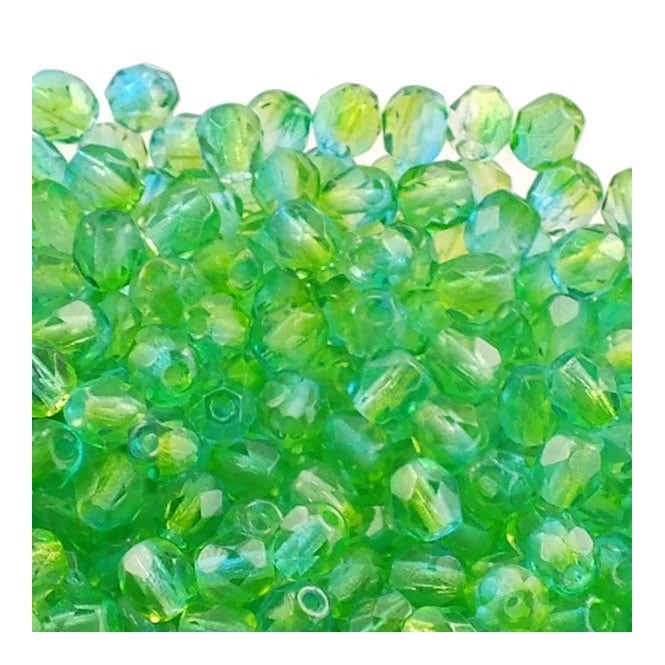 4mm Czech Faceted Round Glass Bead - Dual Coat Blueberry Pear - 50pk
