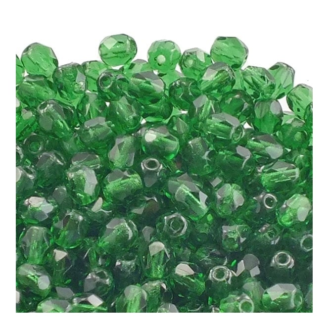 4mm Czech Faceted Round Glass Bead - Emerald - 50pk
