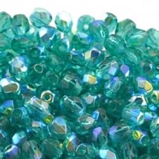 4mm Czech Faceted Round Glass Bead - Emerald AB - 50pk