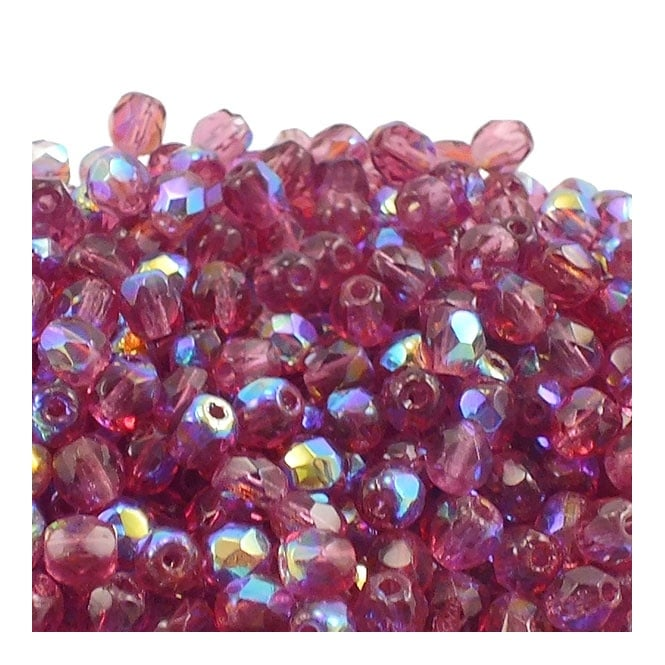 4mm Czech Faceted Round Glass Bead - Fuchsia AB - 50pk