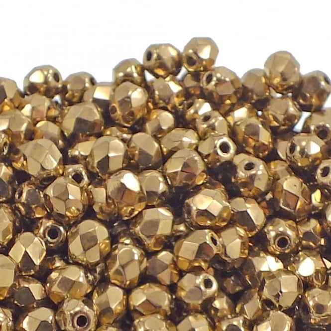 4mm Czech Faceted Round Glass Bead - Gold Bronze - 50pk