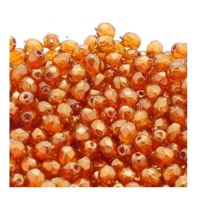 4mm Czech Faceted Round Glass Bead - Halo Sandalwood - 50pk