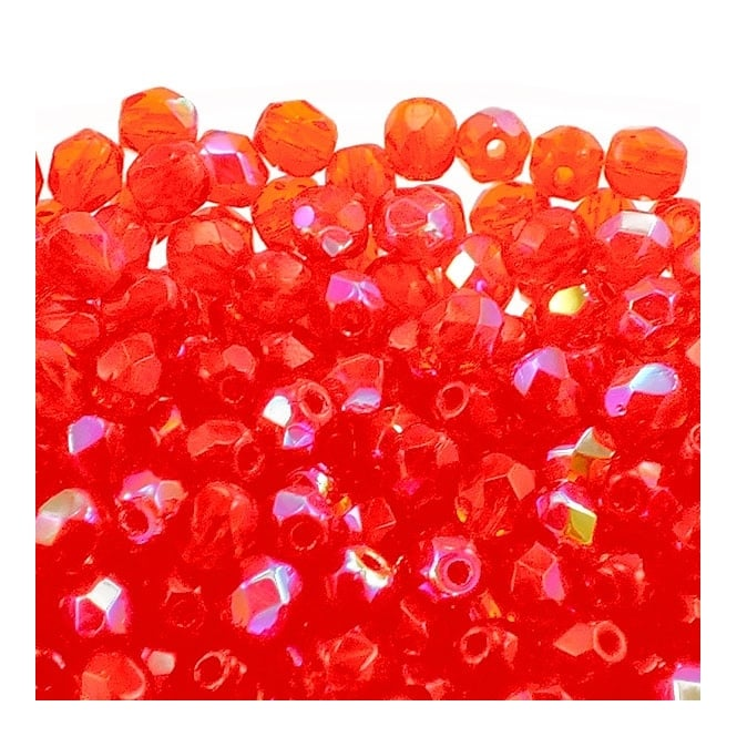 4mm Czech Faceted Round Glass Bead - Hyacinth AB - 50pk