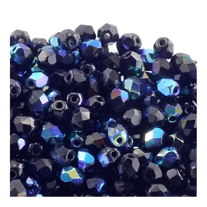 4mm Czech Faceted Round Glass Bead - Jet AB - 50pk