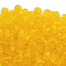 4mm Czech Faceted Round Glass Bead - Jonquil - 50pk