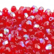 4mm Czech Faceted Round Glass Bead - Light Siam AB - 50pk