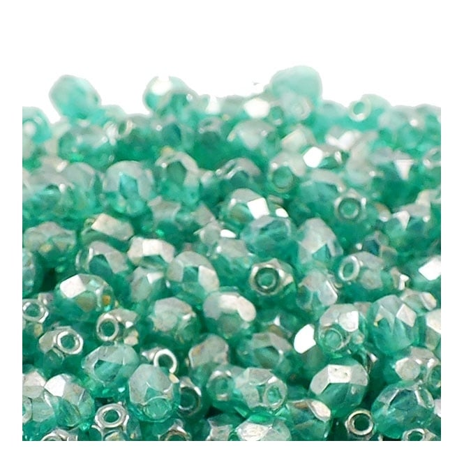 4mm Czech Faceted Round Glass Bead - Lustre Emerald - 50pk