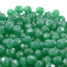 4mm Czech Faceted Round Glass Bead - Malachite Green Opal - 50pk