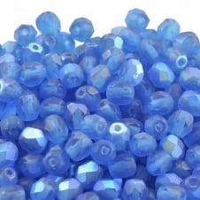 4mm Czech Faceted Round Glass Bead - Matte Capri Blue AB - 50pk