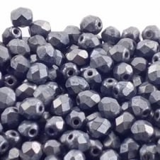 4mm Czech Faceted Round Glass Bead - Matte Hematite - 50pk