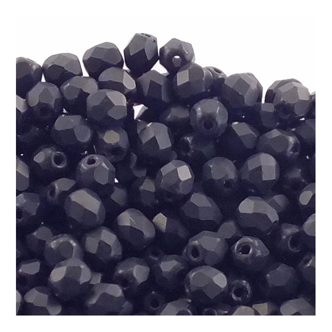 4mm Czech Faceted Round Glass Bead - Matte Jet - 50pk