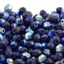 4mm Czech Faceted Round Glass Bead - Matte Jet AB - 50pk