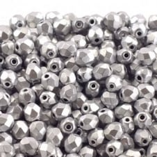 4mm Czech Faceted Round Glass Bead - Matte Metallic Silver - 50pk