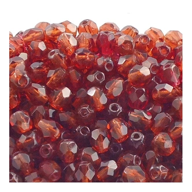 4mm Czech Faceted Round Glass Bead - Mauve - 50pk