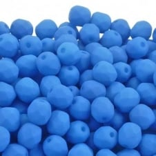 4mm Czech Faceted Round Glass Bead - Neon Blue - 50pk