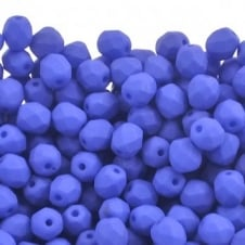 4mm Czech Faceted Round Glass Bead - Neon Ocean Blue - 50pk