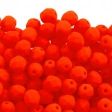 4mm Czech Faceted Round Glass Bead - Neon Orange - 50pk