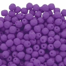 4mm Czech Faceted Round Glass Bead - Neon Purple - 50pk